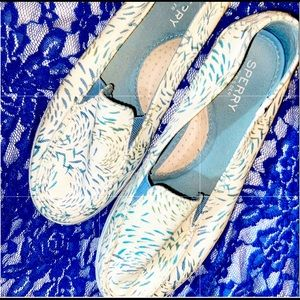 Women's Sperry White Sky Blue Speckled Pull Ons